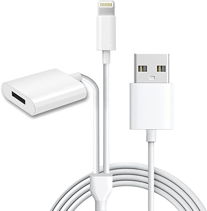 Alfzero Charger for Apple Pencil Adapter [2-in-1 Function] Also USB Charger/Data Cable for iPhone and iPad Pro Accessories(150CM, White)