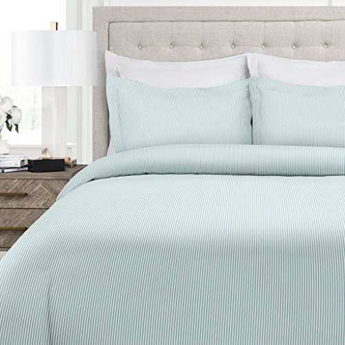 Navy Blue Gray Pinstripe (Italian Luxury Pinstripe Pattern Duvet Cover Set - 3-Piece Ultra Soft Double Brushed Microfiber Printed Cover with Shams - Full/Queen - Aqua/White)