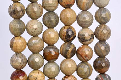 Arts and Crafts 16 Pcs - 11-12MM Silver Leaf Jasper Beads Grade AAA Genuine Natural Micro Faceted Round Gemstone Loose Beads Making Supplies DIY