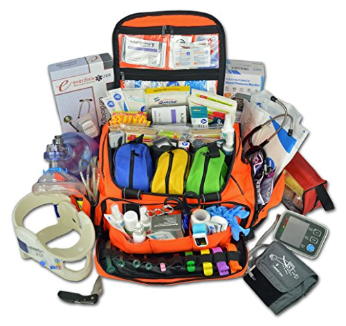 Lightning X Premium Stocked Modular EMS/EMT Trauma First Aid Responder Medical Bag + Kit - Fluorescent Orange by Lightning X Products