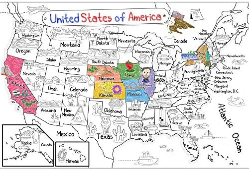 Dekali Designs US Map Coloring Poster - 52x35 Inches Giant Coloring Poster for Kids ? Jumbo Coloring Poster for Children to Learn States (Folded)