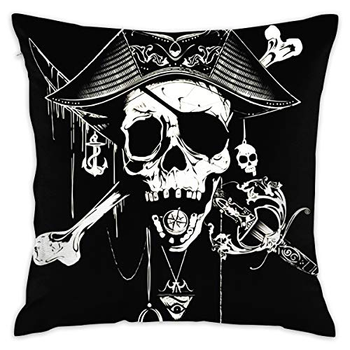 (BINGZHAO Pirate Skull Tricorn Wallpaper 18 X 18 Inch Cushion Cover Throw Pillowcase for Couch)