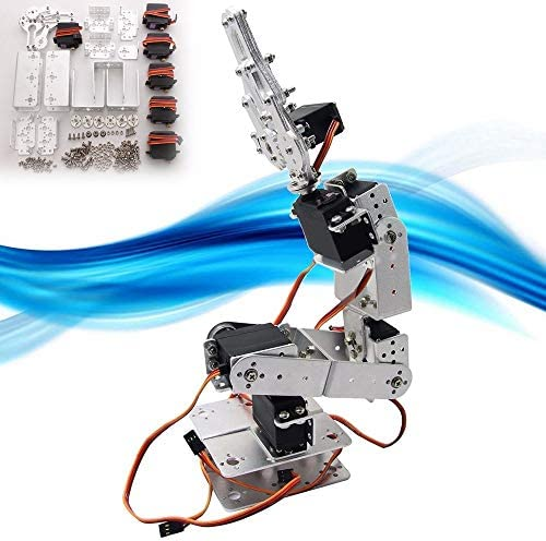 QKP DIY Aluminium Roboter 6 DOF Arm Mechanischer Roboter Arm Clamp Klaue Montieren DIY Kit W/Servos Servo Horn Für Arduino-Silber