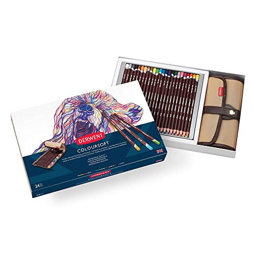 Derwent Colored Pencils, Coloursoft Pencils, Drawing, Art, Gift Set with Canvas Pencil Wrap, 24 Count (2301999)