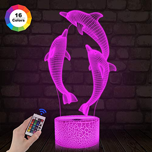 (FULLOSUN Night Light for Kids Dolphin 3D Night Light Porpoise Illusion Lamp with Remote Control 16 Color Changing Xmas Halloween Birthday Gift for Child Baby Boy (Remote - Ice Crack Base))