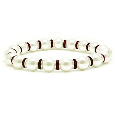 Accents Kingdom Women's Magnetic Hematite White Tuchi Simulated Pearl Bracelet, 7.5