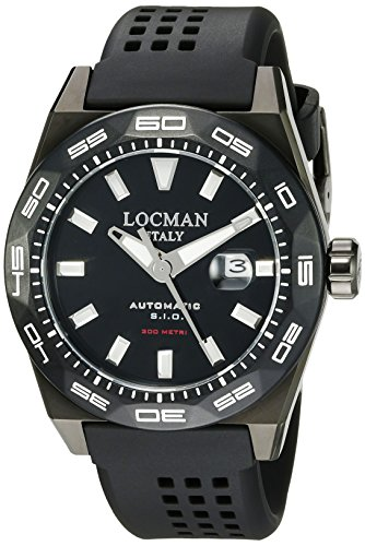 Locman Italy Men's 0215V4-KKCKNKS2K Stealth 300 Metri Analog Display Automatic Self Wind Black Watch by Locman Italy