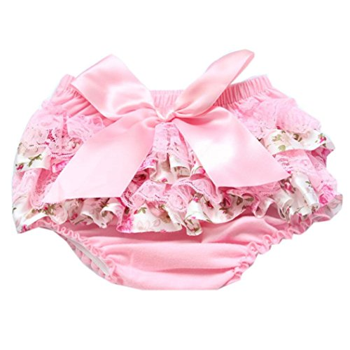 Lanhui Toddler Baby Girl Lace Ruffle Bloomer Nappy Underwear Panty Diaper Cover (Pink, (Fancy Baby Panties)