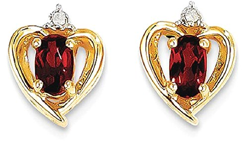 ICE CARATS 14k Yellow Gold Diamond Red Garnet Post Stud Ball Button Earrings Love Set Birthstone Style Fine Jewelry Gift Set For Women Heart by ICE CARATS