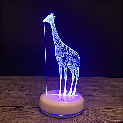 L2eD 3D Led Lamp Table Night Light 7 Color Change Light with Multicolored Touch Button Acrylic Power by USB Batteries Gifts Kids Porcelain White Giraffe
