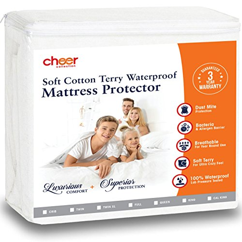 Cheer Collection Waterproof Mattress Protector | 100% Liquid Proof Breathable Hypoallergenic Terry Fitted Mattress Cover for Twin XL Bed