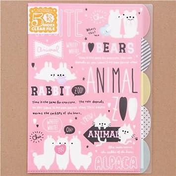 Carpeta archivadora A4 rosa claro 5 fundas animal alpaca conejito
