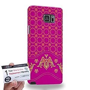 Case88 [Samsung Galaxy Note 5] 3D impresa Carcasa/Funda dura para & Tarjeta de garantía - Art Aztec Assorted Design Pink & Yellow