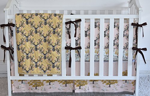 Golden Deer Crib Bedding, antlers, deer, fawn, sheet, quilt , skirt by M&G Baby Glam