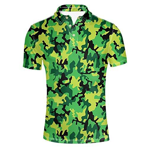HUGS IDEA Camouflage Mens Polos Shirt Short Sleevee T-Shirts