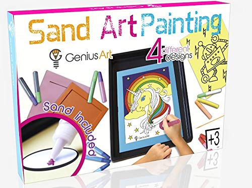 Genius Art Sand Art Painting - Arts and Crafts Toys for Girls and Boys - This Set is for Kids Aged 3 and up - Stocking Stuffers for Kids (All About Me Art Projects For Toddlers)