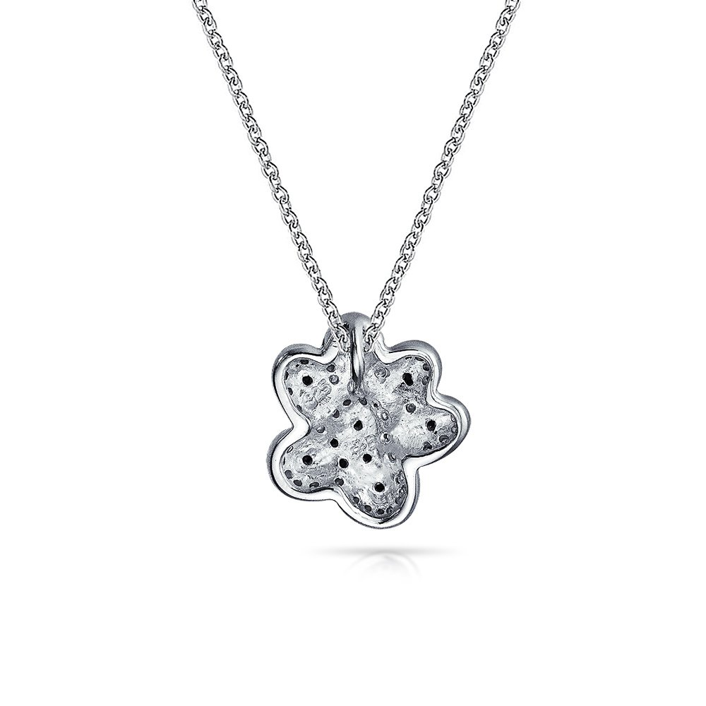 Black White Pave CZ Dog Cat Puppy Kitten BFF Pet Paw Print Pendant Necklace For Women For Teen 925 Sterling Silver