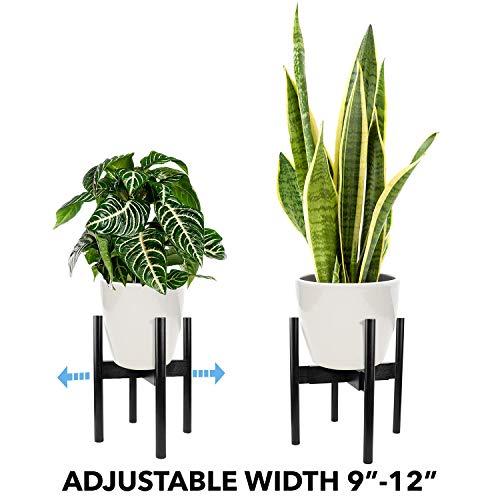 Oak & Boo Adjustable Plant Stand Mid Century Modern for Indoor Outdoor Planters 100% Bamboo Wood - Adjustable Width 9
