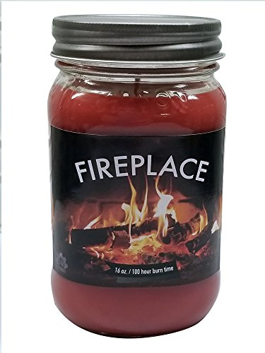 Fireplace Scented Candle (Fireplace Fireside Soy Candle Soy Wax 16oz Mason Jar Candle and Free Gift Box ~ 100% Made in USA by S&M Web Widgets)