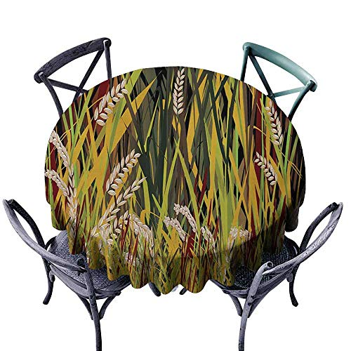 Ficldxc Oil-Proof and Leak-Proof Tablecloth Nature Reeds Dried Leaves Wheat River Wild Plant Forest Farm Country Life Art Print Image Multicolor Picnic D51