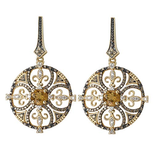 14k Yellow Gold Over .925 Silver Round Fleur De Lis Earrings with Honey Quartz and CZs (1.43ctw)