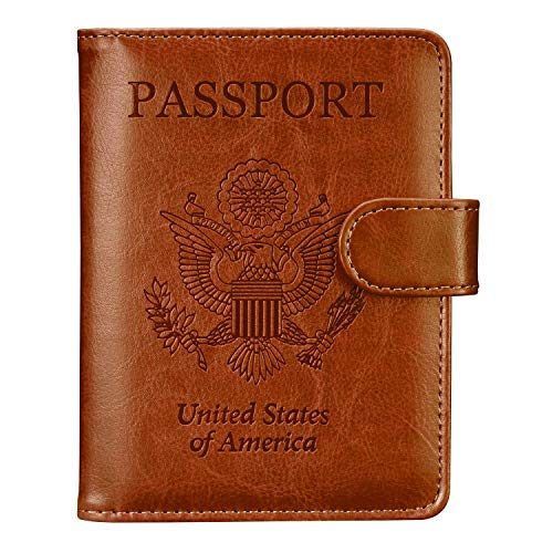 Passport Holder Travel Cover Case - HOTCOOL Leather RFID Blocking Wallet For Passport, Brown (Magnetic)