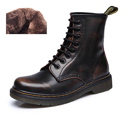 Modemoven Damen Runde Toe Lase-up Stiefeletten Damen Leder Kampfstiefel Fashion Martens Stiefel Brown Black Fell gefüttert