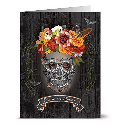 24 Halloween Note Cards - Dia de Los Muertos - Blank Cards - Grey Envelopes Included