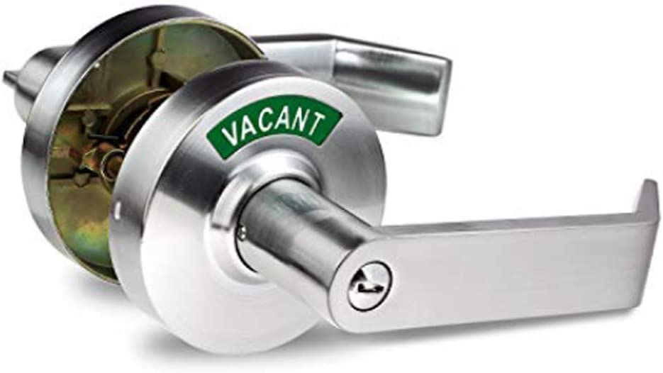 VIZILOK Privacy Indicator Lock and Lever C3FK, Commercial Grade Left Right Reversible Occupancy Indicator Stainless Steel/Zinc Alloy Handle - Satin Chrome