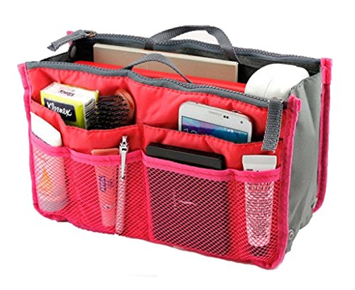Lady Women Travel Insert Handbag Organiser Purse Large Liner Organizer Tidy Bag-Hot Pink