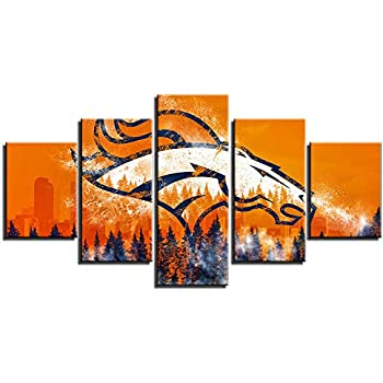 Denver Broncos NFL Wall Decor Art Paintings 5 Piece Canvas Picture Artwork Living Room American Football Prints Poster Decoration Wooden Framed Ready to Hang(60''Wx32''H)