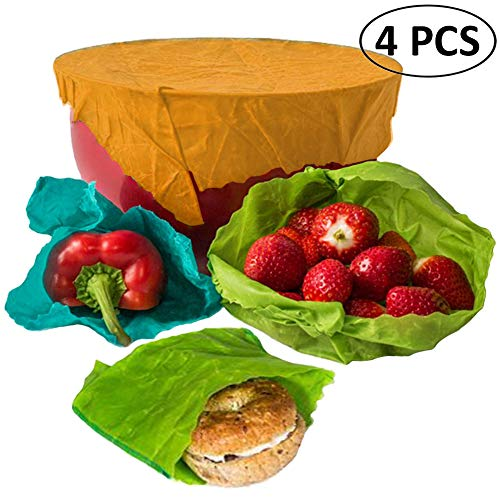 4 Pcs Beeswax Food Wrap Eco Friendly Reusable Organic Bees Wax Paper Storage Wraps for Lunch Sandwiches Vegetables Wrapping - BPA, PVC Free - Natural Anti Bacterial - 3 Sizes 1 Small 2 Medium 1 Large