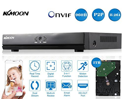 Kkmoon 1080N 720P 4Ch Ahd Dvr Hvr Nvr Hdmi P2p Cloud Network Onvif Digital Video Recorder   1Tb Hdd Plug And Play Android Ios App Free Cms Browser View Motion Detection Email Alarm