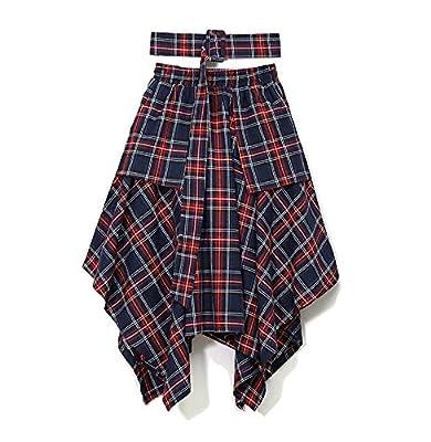 JUNE Women's Plaid Ireegular Skirt with Belt and Pockets