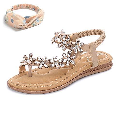 (Women's Sparkle Flip Flops Sandals Summer Beach Thong Flat Sandal Shoes (US 9.5,Nude))