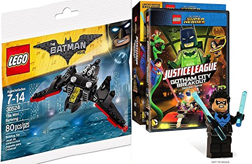 Lego Batwing Batman Toy Builder Bundle DC Comics Super Heroes: Justice League: Gotham City Breakout with Nightwing Mini Figure
