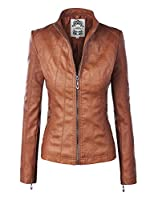 LL WJC877 Womens Panelled Faux Leather Moto Jacket L CAMEL