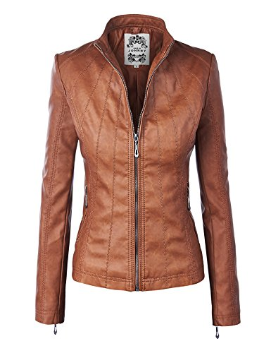 WJC877 Womens Panelled Faux Leather Moto Jacket S Camel