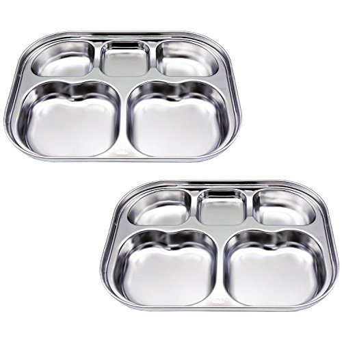 Stainless Steel Divided Plates by KS&E, Kids Toddlers Babies Tray, BPA Free, Diet Food Control, Camping Dishes, Compact Serving Platter, Dinner Snack, 5 Compartment Plate Silver, Set of - Snack Toddler Tray