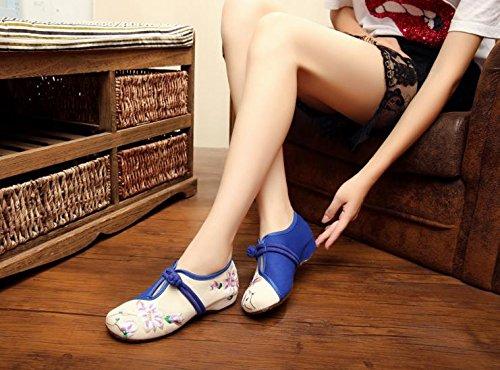 Y&M Zapatos bordados de porcelana azul y blanca, lenguado de tendón, estilo étnico, hembrashoes, moda, zapatos de lona cómodos y casuales White