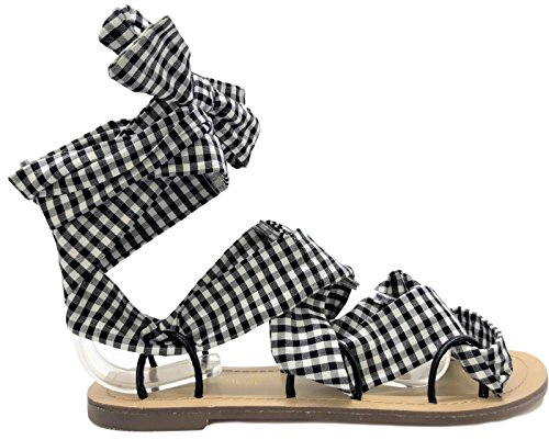 Chase & Chloe Simone-8 Wrap Around Tie Up Gladiator Flats Sandals Open Toe Black Gingham (Gingham Flat)