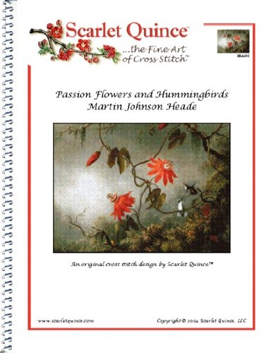 Scarlet Quince HEA001 Passion Flowers and Hummingbirds by Martin Johnson Heade Counted Cross Stitch Chart, Regular Size Symbols