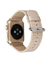TCSHOW for Apple Watch Band 42mm,42mm Carbon Fiber Grain Padded Genuine Leather Strap Wrist Band with Secure Metal Clasp Buckle for Apple Watch Both Series 1 and Series 2