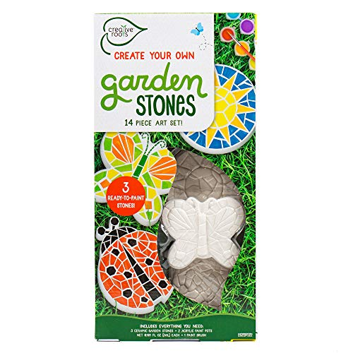 Creative Roots Paint Your Own Butterfly, Ladybug & Sun Garden Stones by Horizon Group USA, Pack of 3 ()
