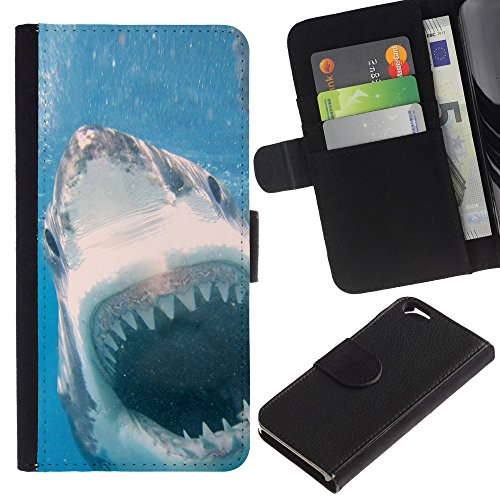 EuroCase - Apple Iphone 6 4.7 - Cool Killer White Shark Attack - Cuir PU Coverture Shell Armure Coque Coq Cas Etui Housse Case Cover