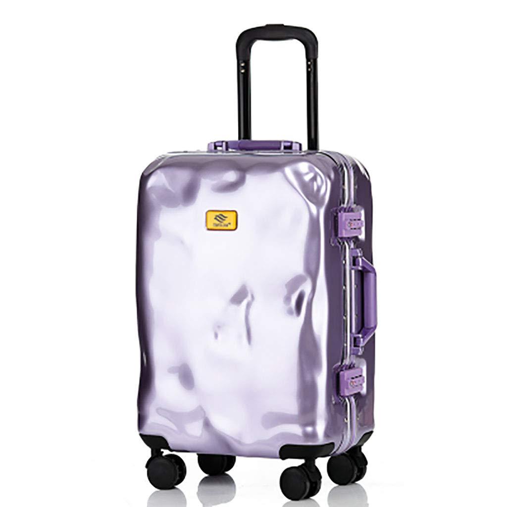 ハードシェルキャビンスーツケース4キャリーナンバーロック超軽量ABSハードシェルキャビン荷物トロリーバッグ/伸縮自在ハンドル 20 inches Purple B07Q755RWN