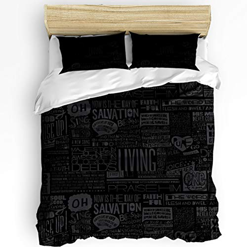 3 Piece Bedding Set King, Black Poster Music Album List Duvet Cover Set for Girls Boys Children Adult, Ultra Soft and Easy Care Sheet Quilt Sets with Decorative Pillow Covers -
