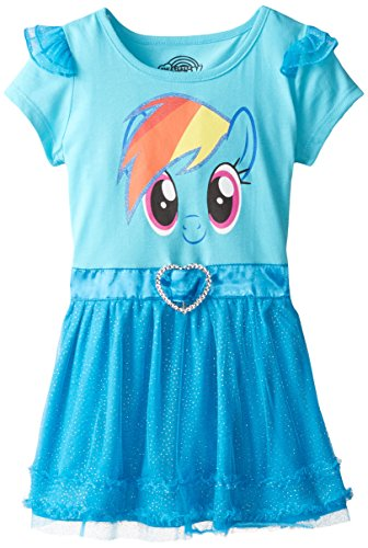 FREEZE Little Girls' My Little Pony Rainbow Dash Tunic with Ruffles and Wings, Blue, 6X
