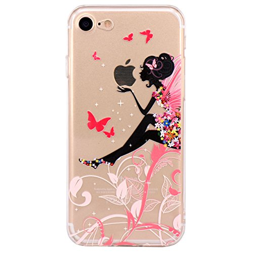 iPhone 7 Case, iPhone 8 Case, JAHOLAN Cute Design Clear Bumper TPU Soft Case Rubber Silicone Skin Cover for iPhone 7/iPhone 8 - Flower Fairy