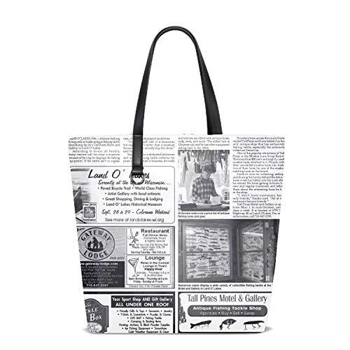 Fishing Tackle Newsprint Women's Vintage Style Soft Polyester Work Tote Large Shoulder Bag